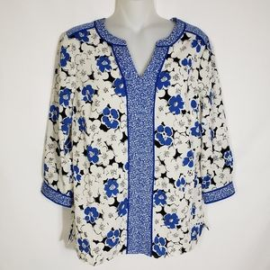 Talbots Blouse Top Floral Blue 3/4 Sleeve Petite S